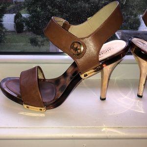 Michael Korea brown heels with leopard sole